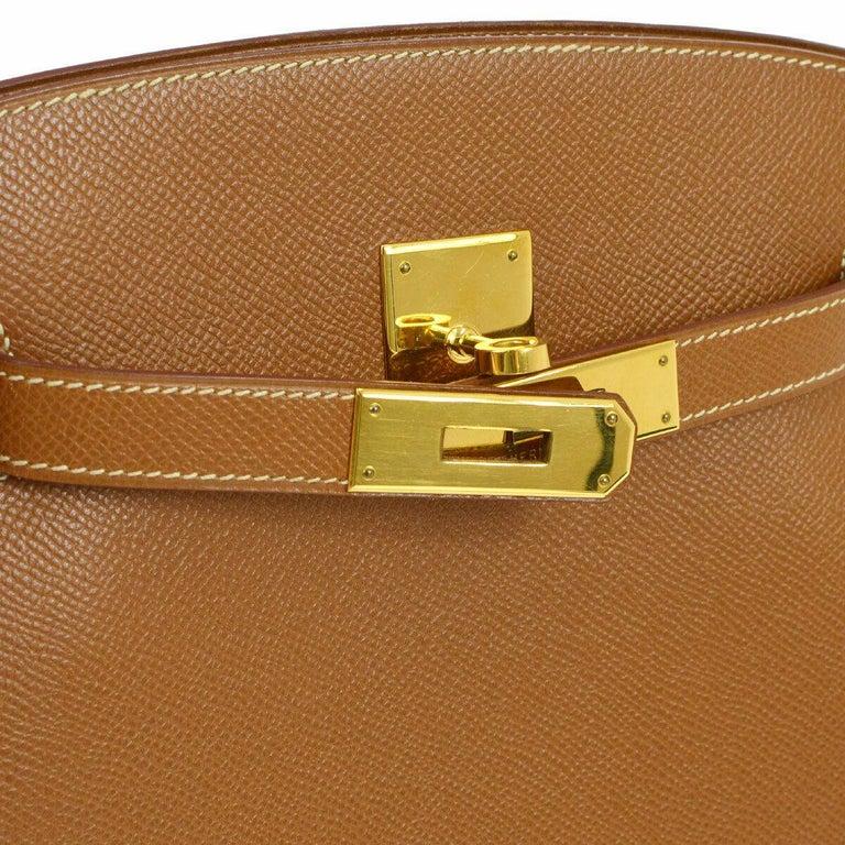 Brown Hermes Cognac Leather Gold Kelly Travel Single Shoulder Large Carryall Bag For Sale