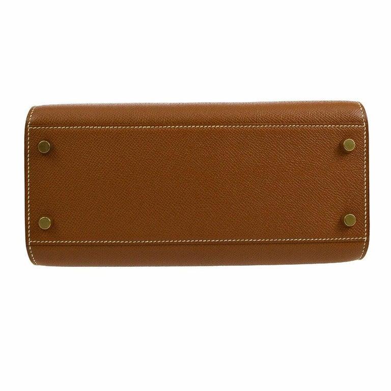 Women's Hermes Cognac Leather Gold Kelly Travel Single Shoulder Large Carryall Bag For Sale