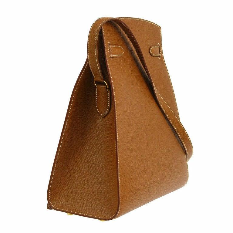 Hermes Cognac Leather Gold Kelly Travel Single Shoulder Large Carryall Bag For Sale 1