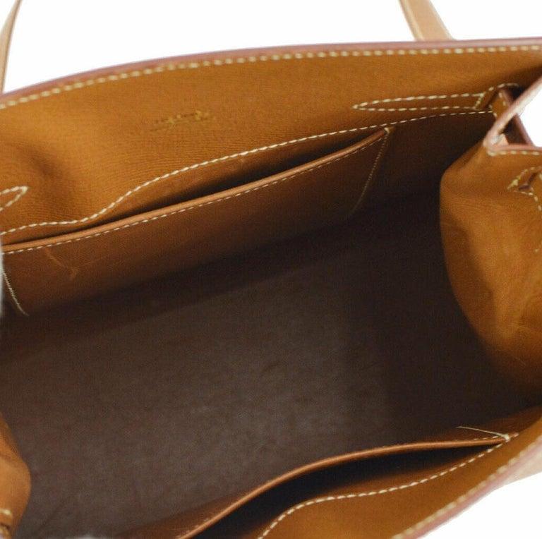 Hermes Cognac Leather Gold Kelly Travel Single Shoulder Large Carryall Bag For Sale 2