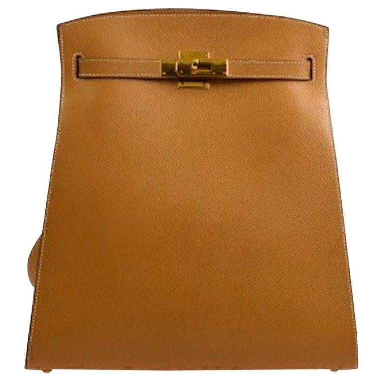 Hermes Cognac Leather Gold Kelly Travel Single Shoulder Large Carryall Bag For Sale