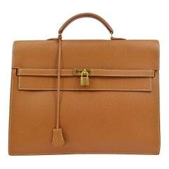 Hermes Cognac Leather Gold Men's Handle Satchel Business Travel Briefcase Bag