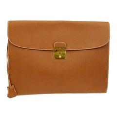 Hermes Cognac Leather Gold Men's Women's Attache Envelope Clutch Bag in Box