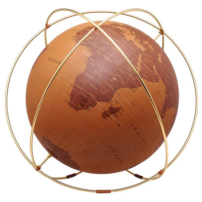 Hermes Cognac Leather Gold Plated Men's Women's Desk Table Globe in Box