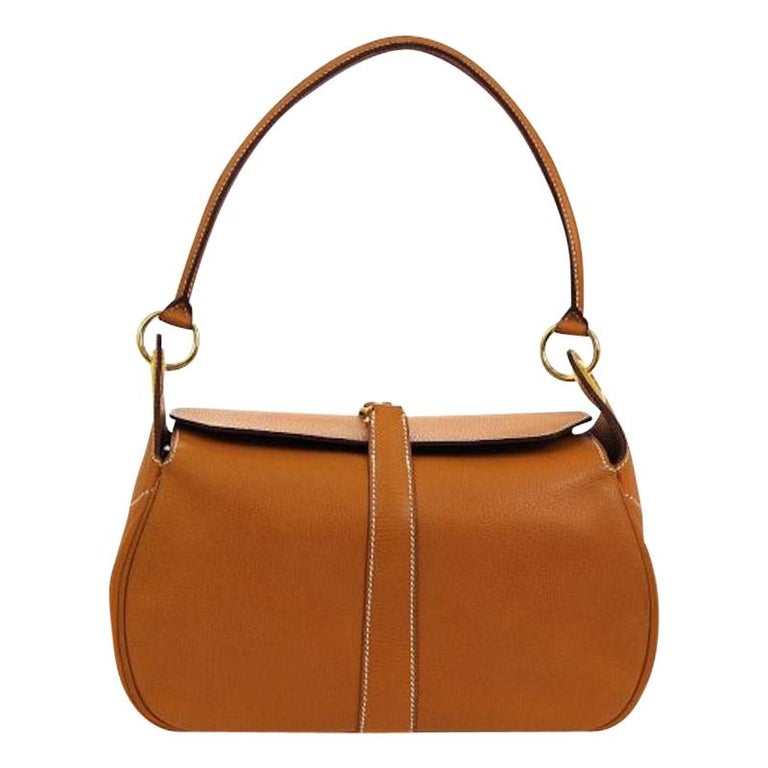 cf9f36856 Hermes Cognac Leather Gold Small Evening Top Handle Satchel Shoulder Flap  Bag For Sale
