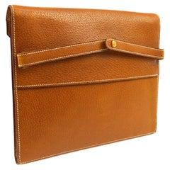 Hermes Cognac Leather Gold Top Handle Evening Portfolio Men's Clutch Flap Bag
