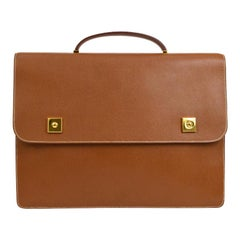 Hermes Cognac Leather Gold Top Handle Satchel Business Travel Briefcase Bag