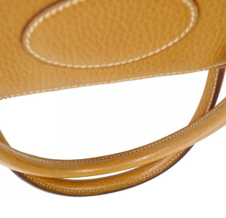 Brown Hermes Cognac Leather Gold Top Handle Satchel Carryall Tote Shoulder Bag For Sale