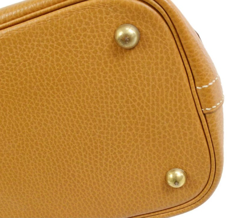 Women's Hermes Cognac Leather Gold Top Handle Satchel Carryall Tote Shoulder Bag For Sale