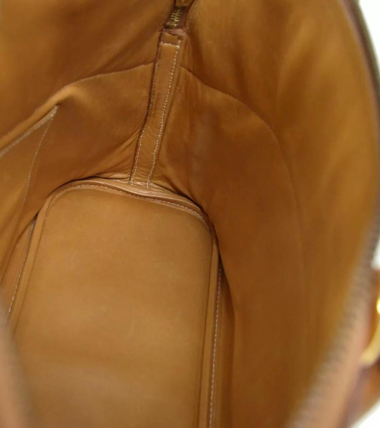 Hermes Cognac Leather Gold Top Handle Satchel Carryall Tote Shoulder Bag For Sale 1