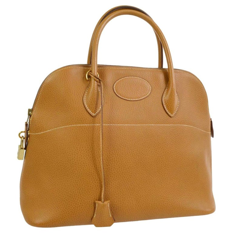 Hermes Cognac Leather Gold Top Handle Satchel Carryall Tote Shoulder Bag For Sale