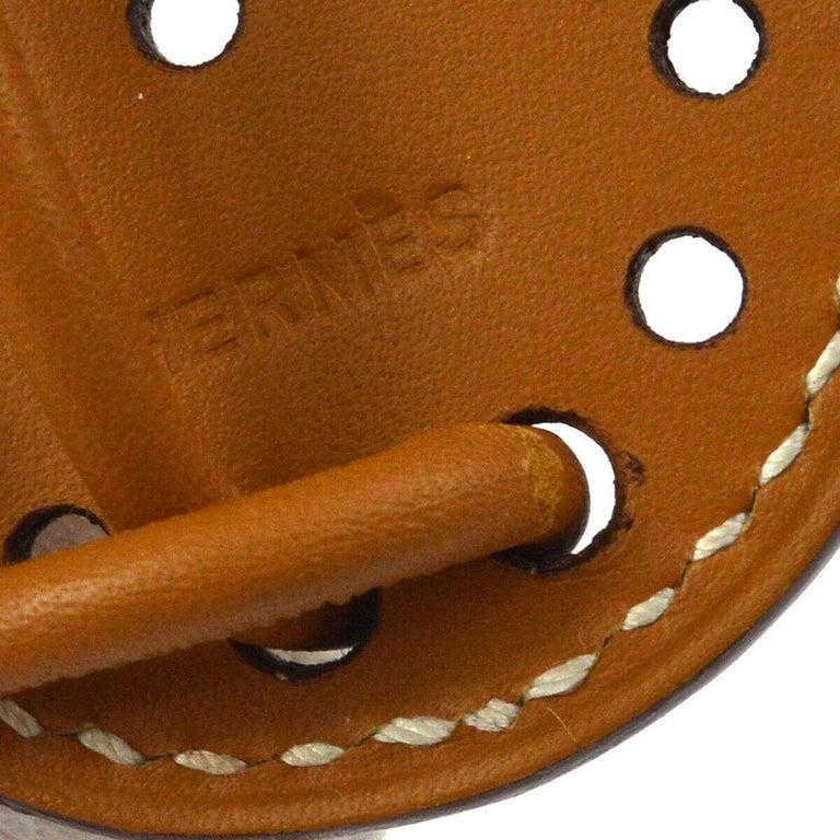 Women's Hermes Cognac Leather 'H' Buckle Long String Evening Waist Belt in Box For Sale