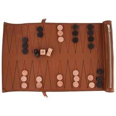 Hermes Cognac Leather Men's Women's Backgammon Dice Checkers Game Set