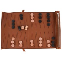 Hermes Cognac Leather Men's Women's Backgammon Game Set in Storage Pouch Bag