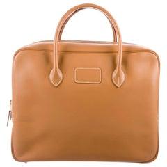 Hermes Cognac Leather Men's Women's Top Handle Satchel Carryall Tote Bag