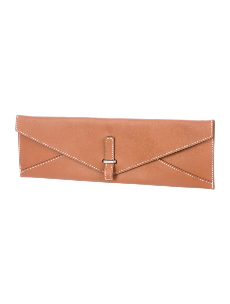 Orange Hermes Cognac Leather Palladium Long Thin Evening Flap Clutch Bag For Sale