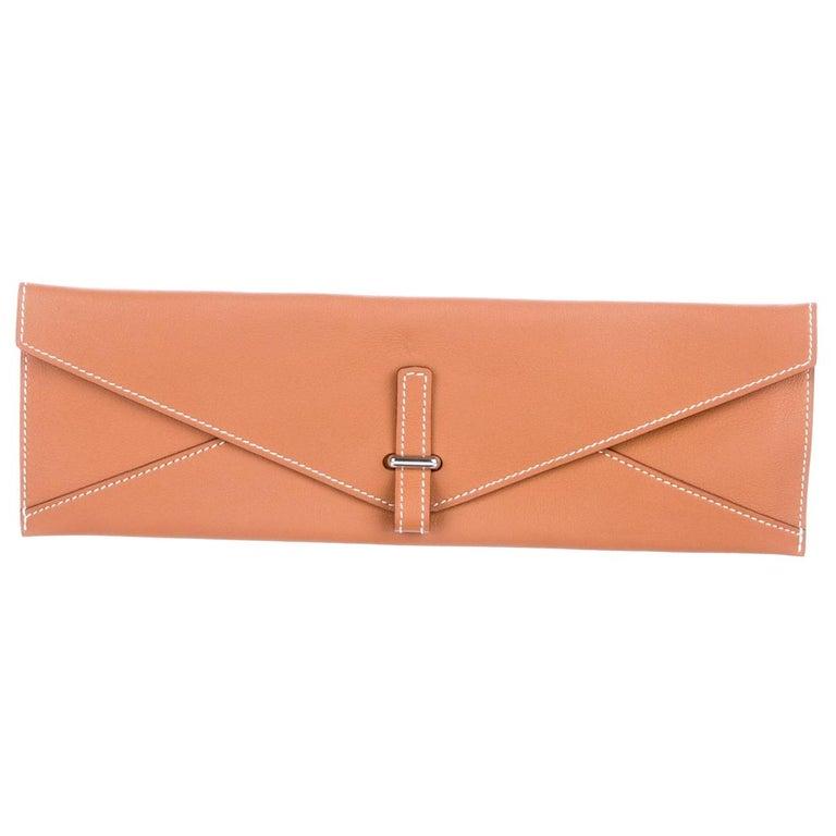 Hermes Cognac Leather Palladium Long Thin Evening Flap Clutch Bag For Sale