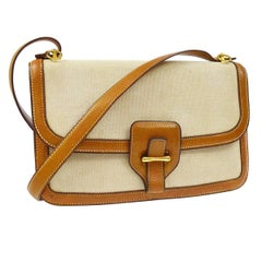Hermes Cognac Leather Tan Canvas Gold Saddle Crossbody Shoulder Flap Bag