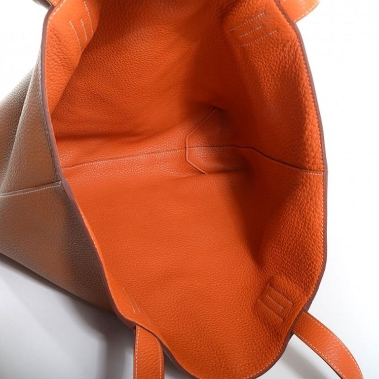 Hermes Cognac Orange Leather Reversible Carryall Travel Men's Women's Tote Bag 1