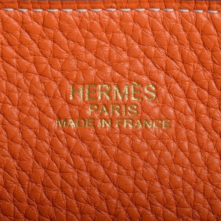 Hermes Cognac Orange Leather Reversible Carryall Travel Men's Women's Tote Bag 2