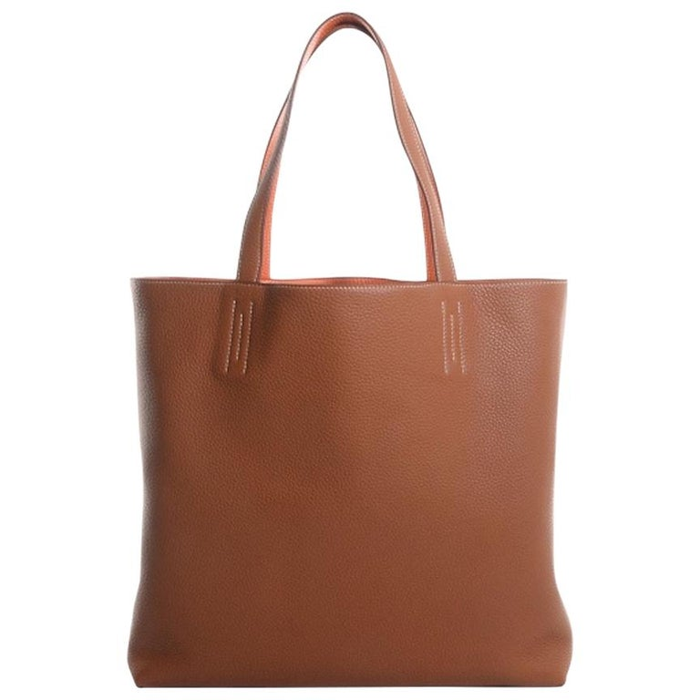 Hermes Cognac Orange Leather Reversible Carryall Travel Men's Women's Tote Bag