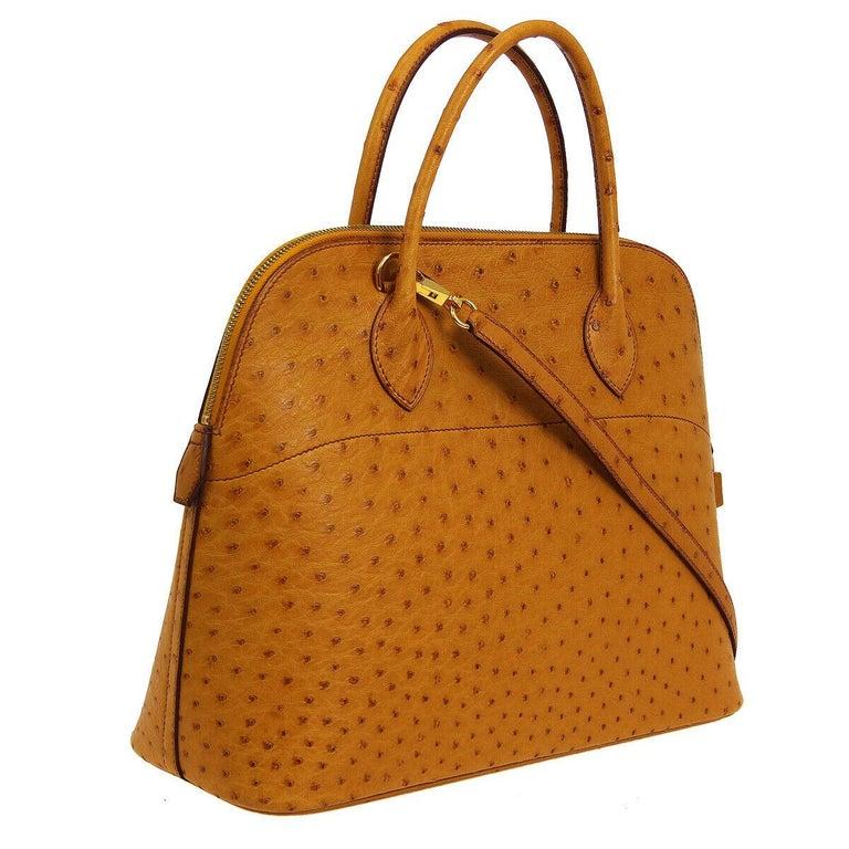 Brown Hermes Cognac Ostrich Exotic Gold Top Handle Satchel Shoulder Tote Bag For Sale