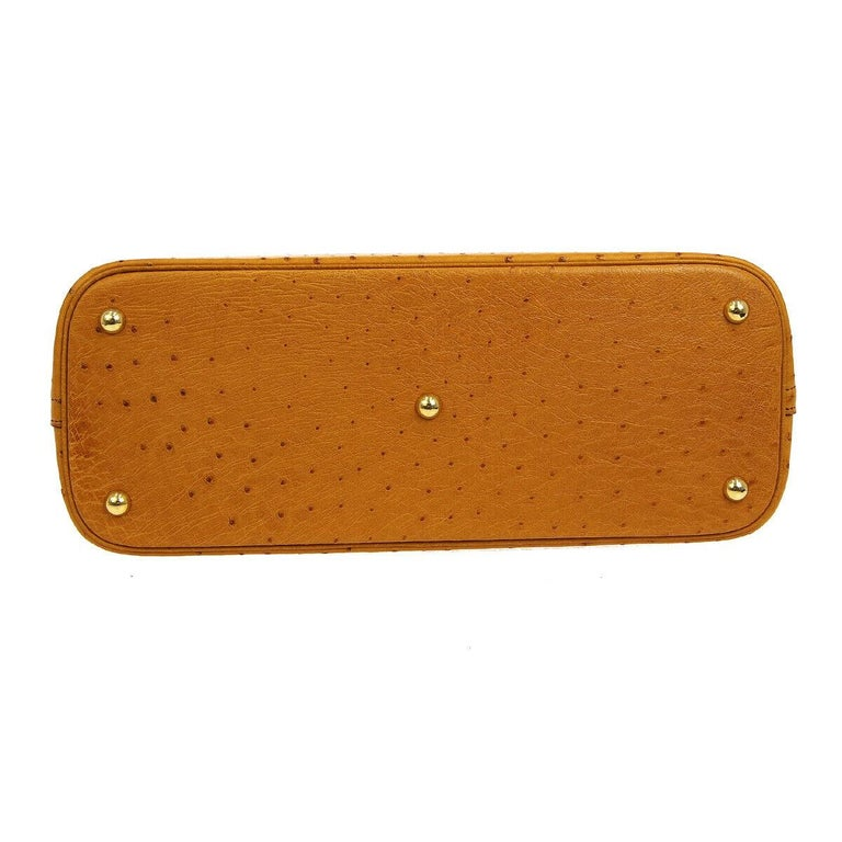 Women's Hermes Cognac Ostrich Exotic Gold Top Handle Satchel Shoulder Tote Bag For Sale