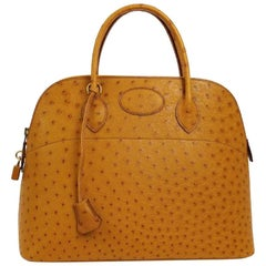 Hermes Cognac Ostrich Exotic Gold Top Handle Satchel Shoulder Tote Bag in Box