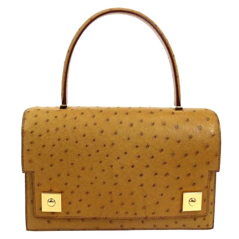 Hermes Cognac Ostrich Exotic Leather Gold Evening Top Handle Satchel Bag in Box  For Sale