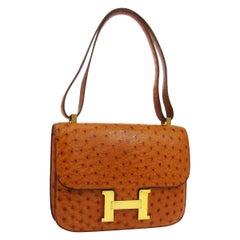 Hermes Cognac Ostrich Leather Exotic Gold 'H' Logo Shoulder Flap Bag in Box
