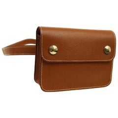 Hermes Cognac Tan Leather Gold Small Pouch Men's Women's Fanny Waist Belt Bag
