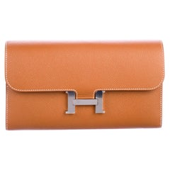 Hermes Cognac Tan Leather Palladium 'H' Logo Evening Clutch Wallet in Box