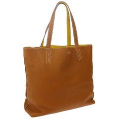 Hermes Cognac Yellow Leather Reversible Carryall Travel Men's Women's Tote Bag