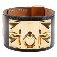 Hermes Colier de Chien Black & Gold Cuff Bracelet
