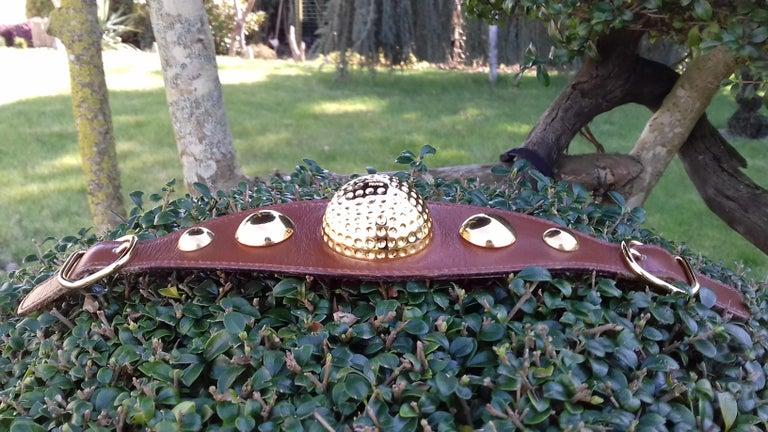 Hermès Vintage Ornament for Hermès Skirt Golf Pattern Hdw Brown Leather For Sale 10