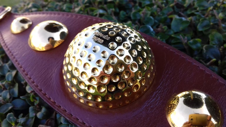 Hermès Vintage Ornament for Hermès Skirt Golf Pattern Hdw Brown Leather For Sale 11