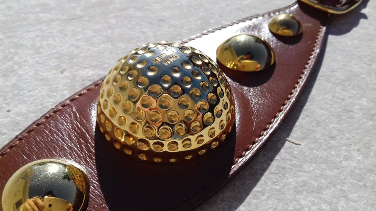 Hermès Vintage Ornament for Hermès Skirt Golf Pattern Hdw Brown Leather In Excellent Condition For Sale In ., FR