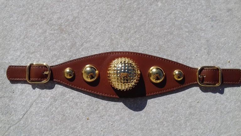 Women's or Men's Hermès Vintage Ornament for Hermès Skirt Golf Pattern Hdw Brown Leather For Sale