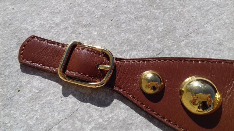 Hermès Vintage Ornament for Hermès Skirt Golf Pattern Hdw Brown Leather For Sale 1