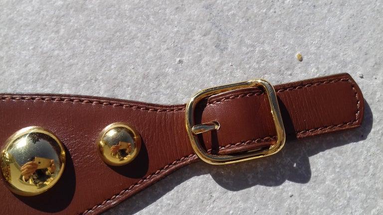 Hermès Vintage Ornament for Hermès Skirt Golf Pattern Hdw Brown Leather For Sale 2