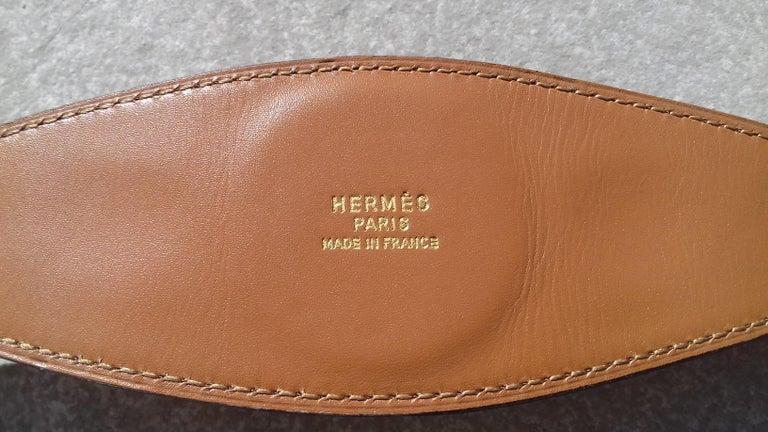 Hermès Vintage Ornament for Hermès Skirt Golf Pattern Hdw Brown Leather For Sale 4