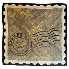 Hermes COLLECTORS Black/White/Gold De Passage a New York 90cm Silk Scarf