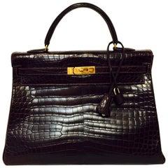 Hermes Collector's Crown Jewel Kelly 35 Bordeaux Matte Porosus Crocodile GHW