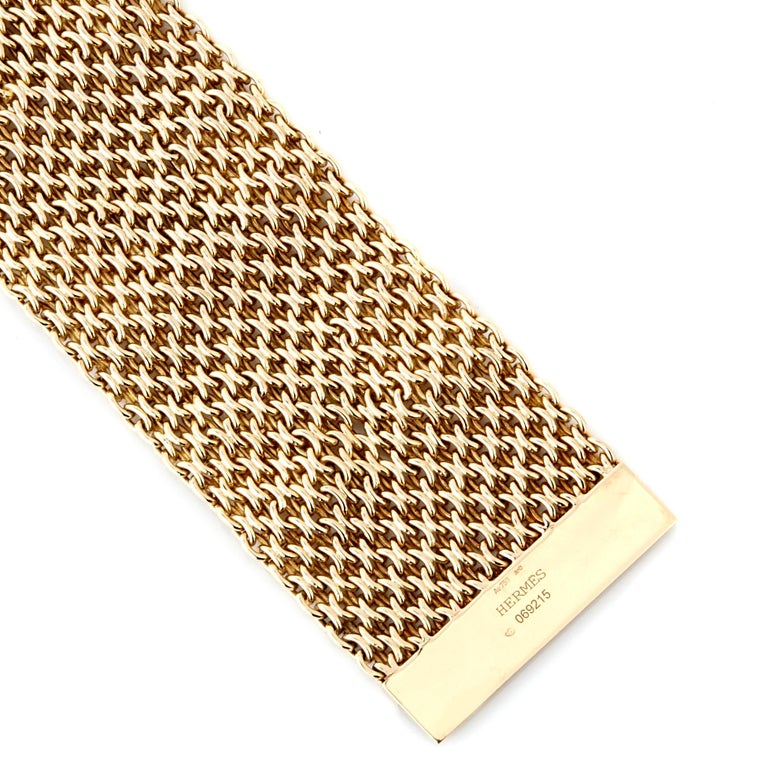 Women's Hermes Collier De Chein Mesh Gold Bracelet For Sale
