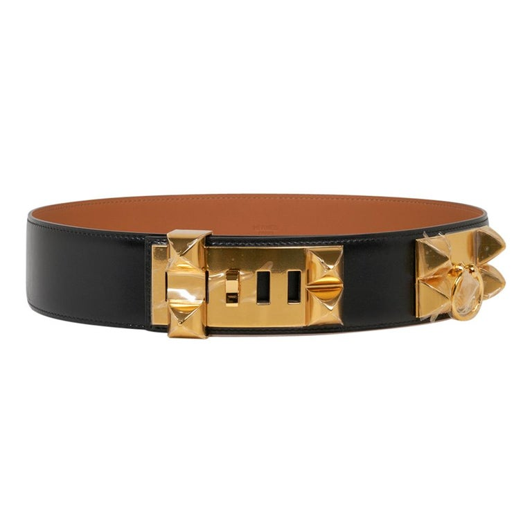 Guaranteed authentic Hermes Collier de Chien Black Box leather belt. This Signature Hermes CDC belt is featured with Gold hardware. Rare to find, this retired model is a collectors treasure. Hermes Paris Made in France stamped inside belt. NEW or
