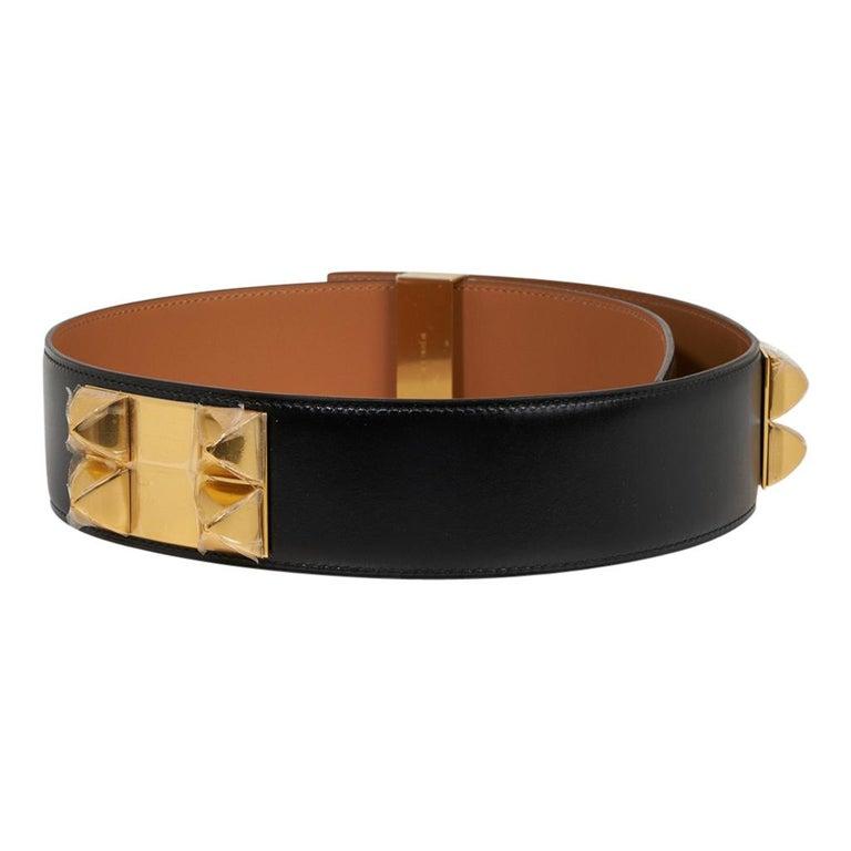 Hermes Collier De Chien Belt Black Box w/ Gold Hardware 75 New In New Condition For Sale In Miami, FL