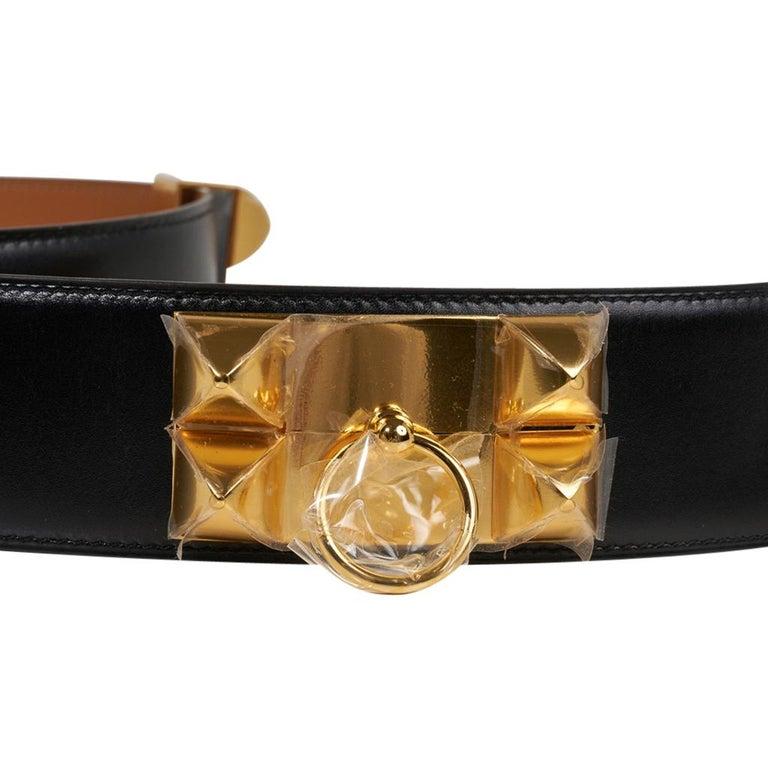 Women's Hermes Collier De Chien Belt Black Box w/ Gold Hardware 75 New For Sale