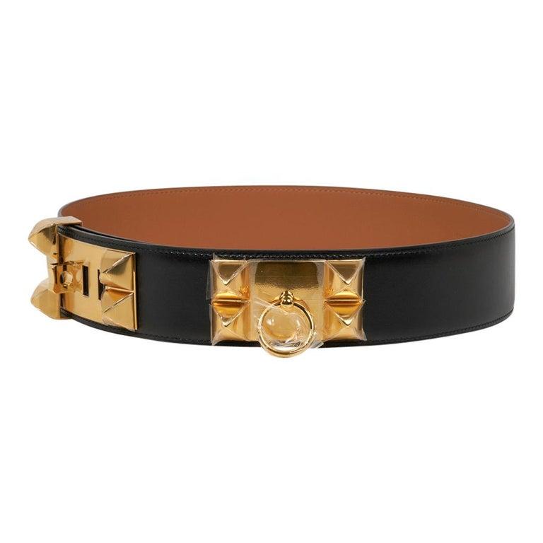 Hermes Collier De Chien Belt Black Box w/ Gold Hardware 75 New For Sale 1