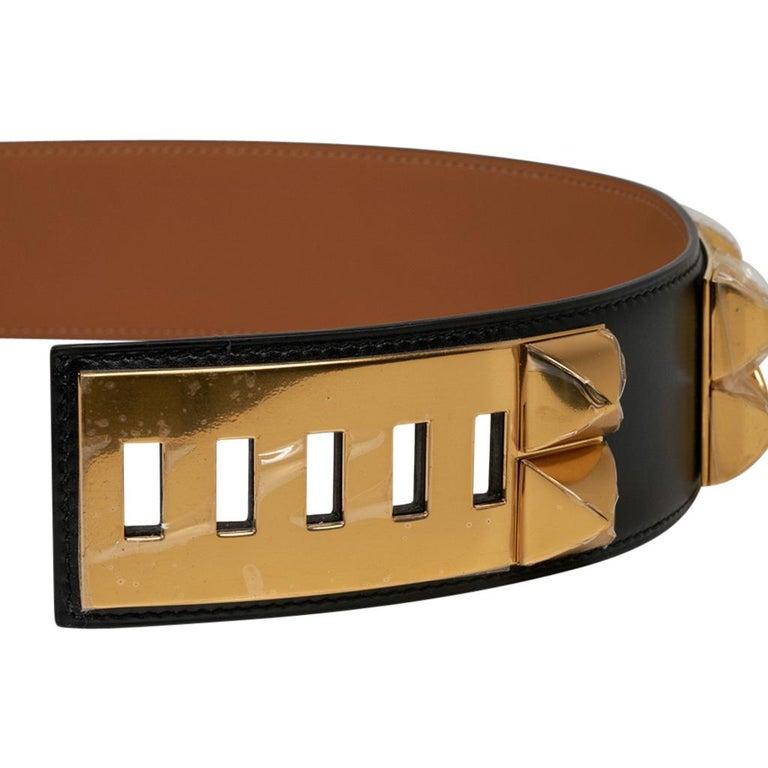 Hermes Collier De Chien Belt Black Box w/ Gold Hardware 75 New For Sale 3
