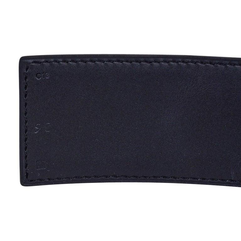 Hermes Collier De Chien Belt Black Porosus Crocodile Palladium 90 New For Sale 6